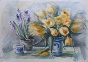 Pot Hyacinthen en Vaas Tulpen