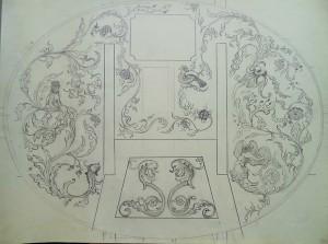 Decoratief bladmotief met acanthusbladeren, vogels, bloemen en fantasiedieren