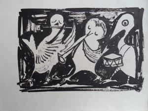 Drie musicerende vogels