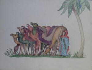 Kamelen met herderin
