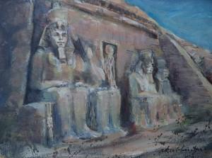 Faraobeelden voor Egyptisch gebouw
