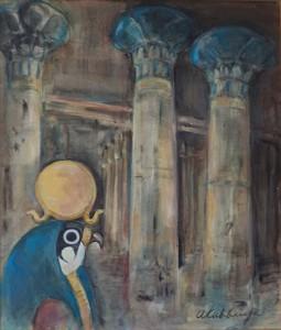 Interieur van een Egyptische tempel met godenbeeld