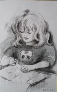 Daphne tijdens het tekenen