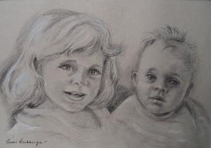 Portret van Daphne en Bram