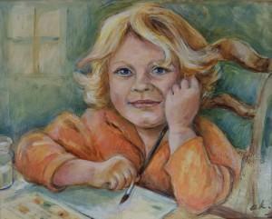 Portret van Daphne tijdens schilderles