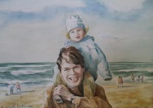 Fred en Daphne op 't strand