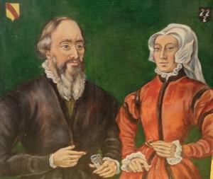 Portret van Joost Demsz van den Burch en Maria Duijer van Voorrecht