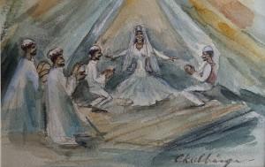 Arabische muzikanten en een danseres