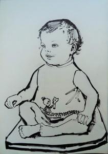 Baby (Juliette?) in kleermakerszit