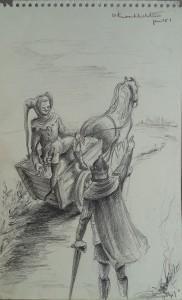 """""""Tyl"""" Ridder en Nar buiten een middeleeuwse stad"""