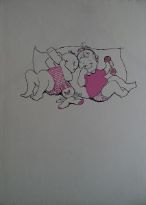 Babytjes met speelgoed en fles