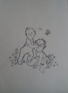 Babytjes in bloemenweide met vlinders