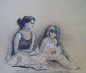Annemarie en Eva als ballerina's