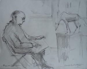 Arend Wolf tekent een beeld na