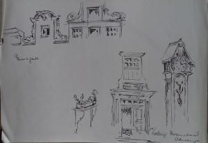 Amsterdam, Prinsengracht, 1e Weteringdwarsstraat, studies naar gevels