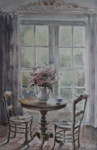 Interieur met vaas bloemen