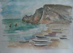 Boten op het strand
