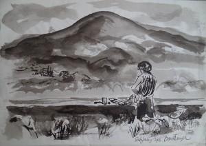 Addi aan het schilderen in Salzburg door Cees Bantzinger
