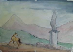 Berglandschap met paard en beeld