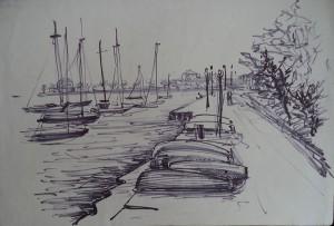 Boulevard bij de jachthaven