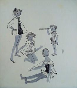 Modetekening, meisjes badmode