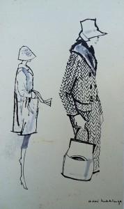 Modetekening: damesjassen en hoeden