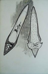Modetekening, damesschoenen Bally