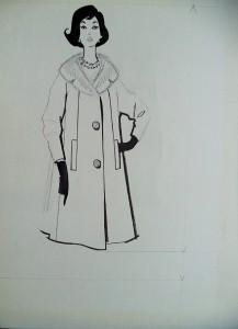 Modetekening, dame in met bont afgezette overjas