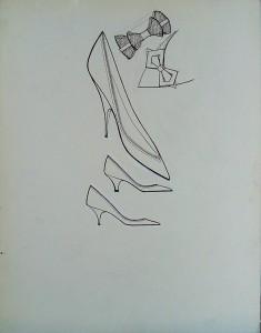 Modetekening: damesschoenen, strikjes