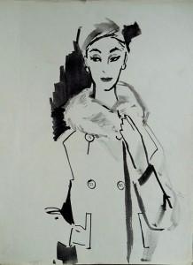Modetekening: Dame in jas met bontkraag