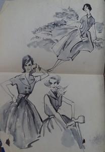 Modetekening: Damesjurken
