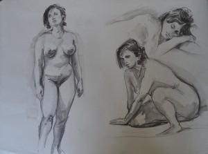 Drie studies naar vrouwelijk naaktmodel
