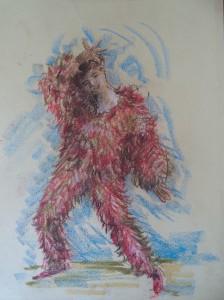 Dansende vrouw in kleurrijk pak