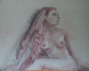 Deel van een zittend vrouwelijk naaktmodel (Petra?)