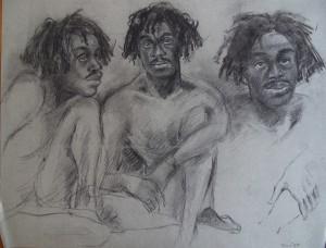 Afrikaanse jongen met rastavlechtjes, drie poses