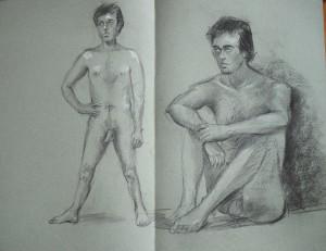 Drie modeltekeningen (Miriam / Bart (2x) )