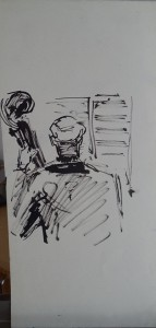 Cellist op de rug gezien