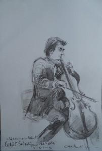 Cellist Sebastiaan de Rode van het Wassenaar Orkest