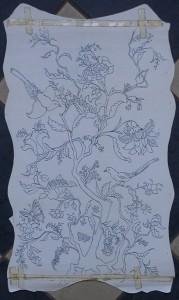 Decoratieve bloemmotieven met vogels