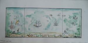 Drieluik met boten en noten