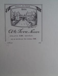 Ontwerp voor wijnetiket Côte Terre Neuve, Chateau P.N.C.