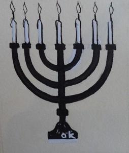 Kandelaar met zeven kaarsen (Menora?)