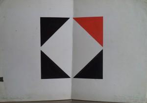 Grafisch ontwerp (De rode driekhoek is de expantie, geboren uit bestaande delen)