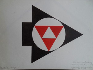 Grafisch ontwerp (Pijl van de vooruitgang, cirkel van de eenheid van de concerns, waarbinnen werkmaatschappijen uitgebeeld)