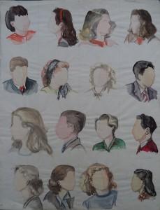 16 aquarelportretjes van studiegenoten?