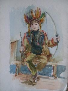 Fred Kubbinga jr. verkleed als indiaan