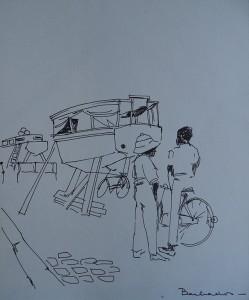 Bootje op Barbados met twee figuren