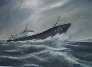 De Katwijk 74 (Hendrika Johanna) op ruwe zee