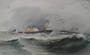 Boten aan de kust (bij Katwijk?)
