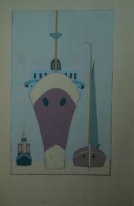 Drie schepen in vooraanzicht